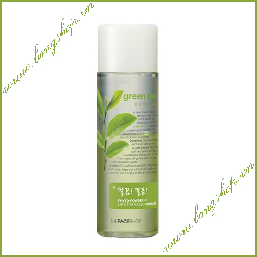Phyto Powder In Lip & Eye Makeup Remover Green Tea - The Face Shop - Tẩy trang mắt môi trà xanh