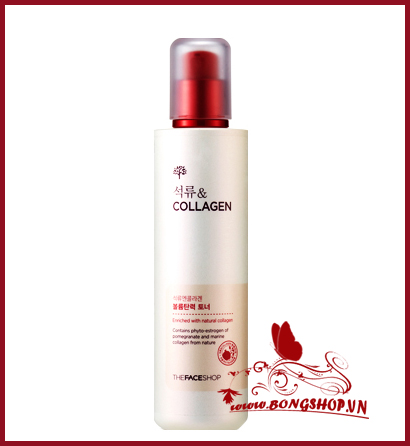 Pomegranate and collagen volume lifting toner  -Nước hoa hồng dưỡng trắng lựu collagen The Face Shop